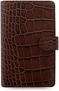 $199 » Filofax Classic Croc Print Leather Organizer Agenda Calendar with DiLoro Ballpoint Pen 026015 (Compact Personal, Chestnut ...