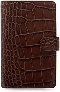 Filofax Classic Croc Print Leather Organizer Agenda Calendar with DiLoro Jot Pad Refills (Compact, Chestnut 2019, 026015)