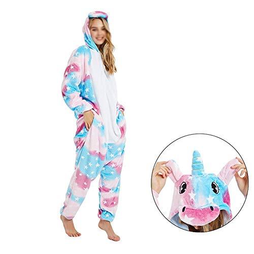 CVXCVCBCG Dames Onesies flanel schattig Unicorn All In One Overall-Lounge pak pyjama met capuchon Onesies