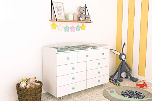 LittleBird Genius Changing Table, with Chest of Drawers - 9 Drawers (White)