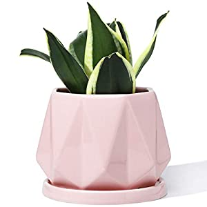 Silk Flower Arrangements POTEY 052703 Planter Pots Indoor - 4.7 Inch Glazed Ceramic Modern Home Decor Geometric Shaped Planters Indoor Bonsai Container with Drainage Hole&Saucer for Plants Flower Aloe(Plants Not Included)