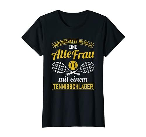 Mujer Antigua mujer con raqueta de tenis Camiseta