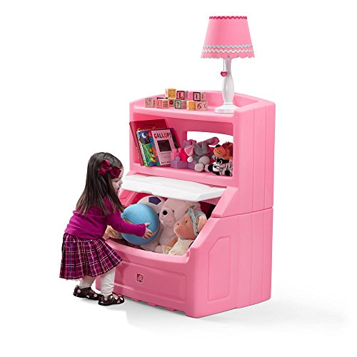 Step2 Lift and Hide Bookcase Toy Box Storage Chest for Kids - Durable Plastic Bookshelf Toys Organizer, Pink