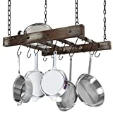 J JACKCUBE DESIGN Rustic Wood Pot Pan Rack Ceiling Mounted Hanger Multi- Purpose Wood and Metal Cookware Kitchen Storage Organizer With Utility 16 Hooks - MK603B