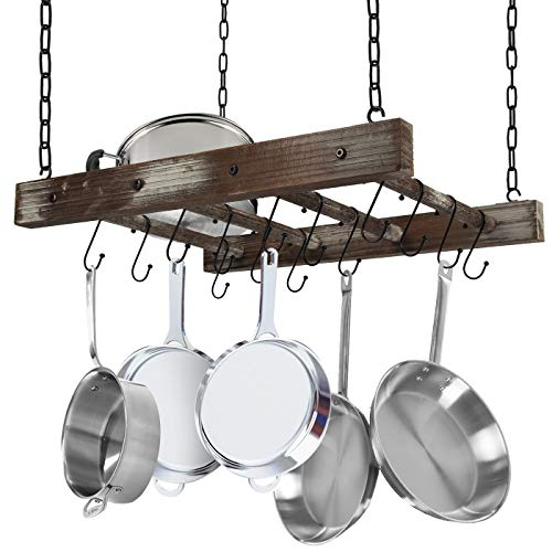 J JACKCUBE DESIGN Rustic Wood Pot Pan Rack Ceiling Mounted Hanger Multi- Purpose Wood and Metal Cookware Kitchen Storage Organizer With Utility 16 Hooks - MK603B
