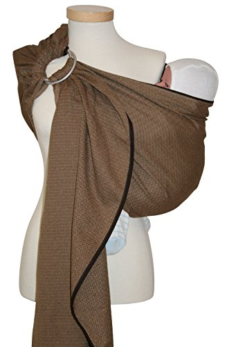 Storchenwiege Ring Sling Woven Cotton Baby Carrier From Germany (Leo Pattern) (Leo Cafe) One Size Fits All