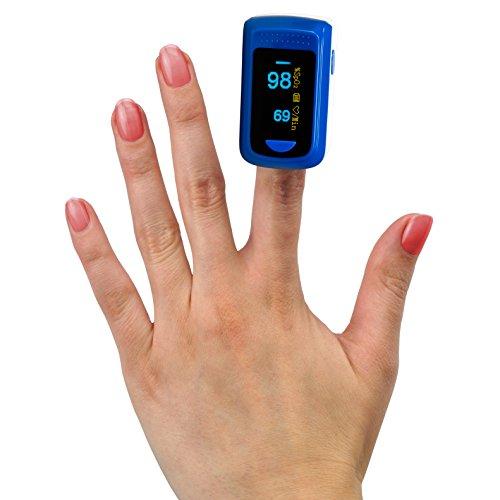 MedX5 Farbdisplay, Pulsoximeter, Fingerpulsoximeter, Pulsmessgerät, Oximeter, Pulsmesser, zertifiziertes Medizinprodukt mit EXTRA Zubehör