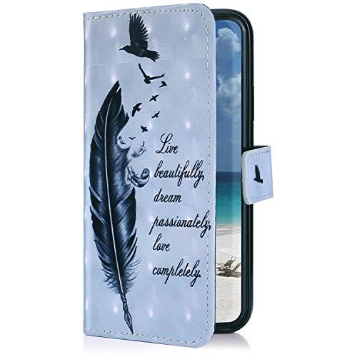 Uposao Kompatibel mit Huawei P Smart 2019 Hülle Leder Schutzhülle Brieftasche Handyhülle 3D Glänzend Bling Glitzer Hülle Klapphülle Flip Book Case Tasche Magnet Kartenfächer,Vogel Feder