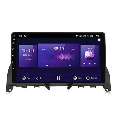 ADMLZQQ Radio 2 DIN Autoradio Bluetooth para Benz C-Class 3 W204 2006-2011 Pantalla Táctil HD Soporte Estéreo Llamadas Manos Libres Bluetooth FM RDS Enlace Espejo carplay