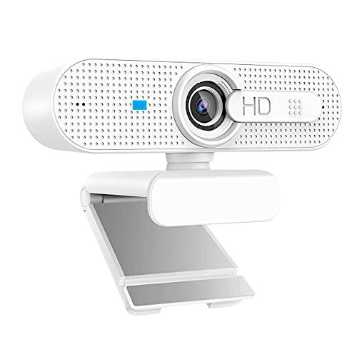 HWUKONG AutoFOCUS Webcam con Cubierta DE PRIVACIDAD Y Dual-Mice HD 1080P Streaming Cámara de la computadora para PC Laptop Xbox One, Skype/Chat de Video/Clase/Conferencia en línea
