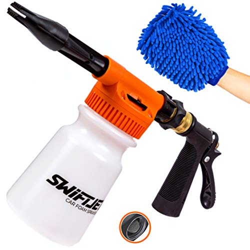 SwiftJet Car Wash Foam Gun Sprayer with Thick Suds - Adjustable Water Pressure & Soap Ratio Dial - Foam Cannon Attaches to Any Garden Hose (Foam Sprayer with Wash Mit)