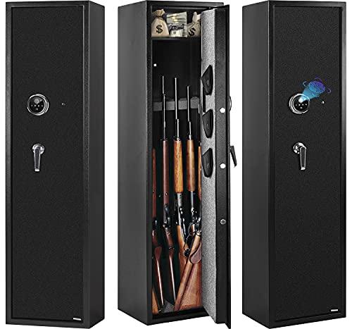 Biometric Gun Safe for Rifles and Pistols, WINZONE GunSafes&Cabinets, Fingerprint Quick Access Rifle Safe Storage 5 Long Shotguns, With Hand gun Lock Box and 3 Separate Pistol Pouch