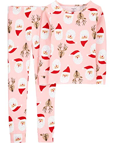 Carter's Little Girls' Christmas 2-Piece Snug Fit Cotton PJs (4T, Pink/Red Santa)