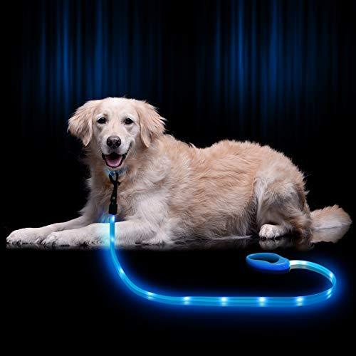 NOVKIN LED-Hundeleine, wiederaufladbar, beleuchtete Hundeleine, hält Ihre Hunde sichtbar und sicher für nächtliche Spaziergänge, für kleine, mittelgroße und große Hunde.