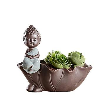 YOURNELO Murrey Porcelain Adorable Cartoon Animals Flower Pot Succulent Planters Vase  Buddha Green