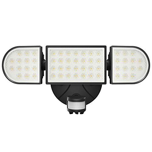 Onforu 55W LED Strahler mit Bewegungsmelder, 5000LM Superhell Außen Fluter mit 3 Köpfe, IP65 Wasserdicht PIR Außenstrahler, 6000K Tageslichtweiß Sensor Flutlicht Außenleuchte für Garage, Garten, Hof
