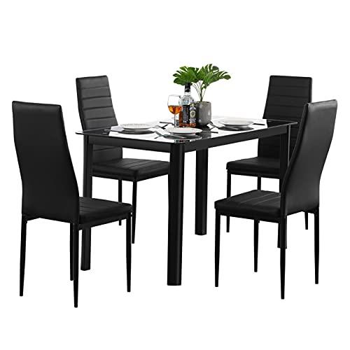Oven Mesa de Comedor de Cocina de 5 Piezas Conjunto de Mesa de Comedor de Cristal Templado con 4 sillas de Marco de Metal de Piel sintética para Comedor, Cocina