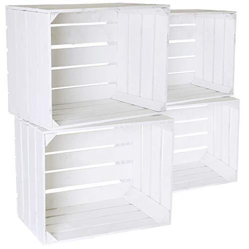 4x Neue Massive Weiß lasierte Kisten als Bücherregal - Obstkisten Neu