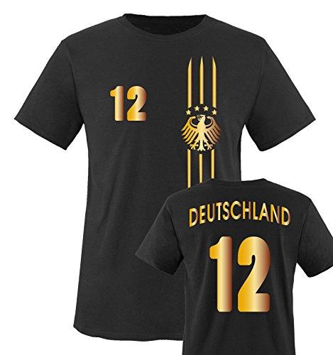 Trikot - MOTIV1 - Deutschland - 12 - Kinder T-Shirt - Schwarz/Gold Gr. 152-164