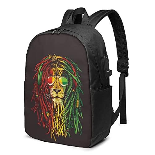 AOOEDM Mochila para portátil con puerto de carga USB Rasta Vibe Lion con gafas de sol, bolsas de viaje de negocios de 17 pulgadas para hombres y mujeres, escuela, universidad, mochila para computadora
