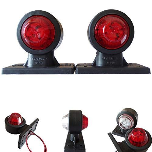 2stk. LED 12V - 24V Volt Begrenzungsleuchten Positionsleuchten Seitenmarkierung LKW PKW Anhanger Rot Weiss Gummi
