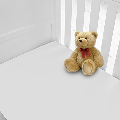 Pack of 2 (Two) Luxury Percale Cot Bed Fitted Sheets Available in 12 Colours (Cotbed, White)
