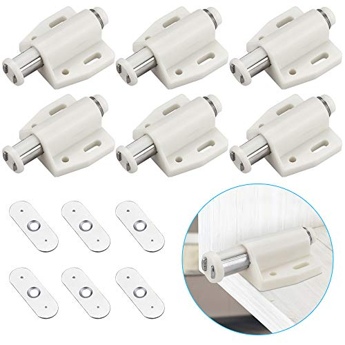 KBNIAN 6 Stück Magnet Drucktüröffner Magnetschnäpper Federschnäpper Türschließer Magnetschloss für Bücherschränken, Küchenschränken und Schränken