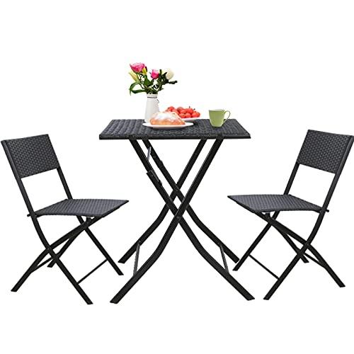 GARTIO 3 Pieces Patio Rattan Bistro Set, Outdoor Waterproof Hand-Woven Furniture, Small&Lightweight Wicker Set w/Rust-Proof Steel Frame, Foldable Chairs&Table, Balcony, Garden, Backyard, Porch