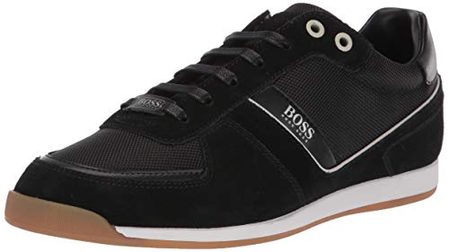 Hugo Boss Herren Akeen Suede Sneaker Turnschuh, New Black, 42 EU