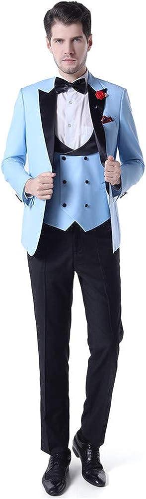 Peak Lapel Men Suits 3 PCs(Jacket+Pants+Vest) Slim Fit Blazer Wedding Prom Grooms Tuxedo