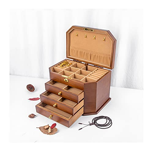 hkwshop Caja de Joyas Caja de joyería/Joya de Madera Grande con Caja de joyería de 2/3 cajones, Anillo, Collar y Organizador de Pendientes Caja de Joyería (Color : Walnut Color, Size : Large)