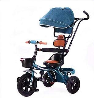 دراجة أطفال ثلاثية العجلات مع قضيب دفع للركوب دراجة ثلاثية العجلات باللون الأزرق