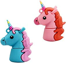Value Pack 2 PCS (Pink and Blue) of Unicorn USB 32GB Flash Drive by P46 Digital, Perfect Unicorn Gifts for Girls, Cute Unicorn USB Keychain Flash Drive
