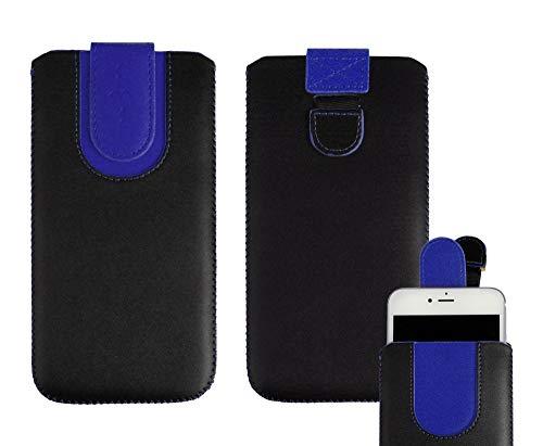 emartbuy Schwarz/Dunkelblau Premium PU Leder Slide In Hülle Abdeckung Tashe Hülle Sleeve Halter (Größe SA6) Mit Zuglaschen Mechanismus Geeignet Für Die Unten Aufgeführten Smartphones