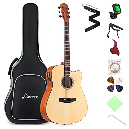 Donner Elektroakustische Gitarre 4/4 voller Größe Elektro Akustik Gitarre Set Cutaway 41 Zoll für Anfänger mit Eingebauter Vorverstärker Tasche Capo Plektren Gurt Saiten (Natur, DAG-1CE)