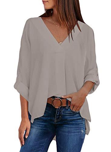 Modasua Damen Bluse Langarm Blusenshirt Chiffon Hemd V-Ausschnitt Elegant Hemd Casual Oberteile Tops Business Tunika T-Shirt,Aprikose,XL