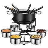 TTLIFE - Juego de fondue, multifuncional de acero, helado, chocolate, queso, olla caliente, olla de fusión, accesorios de cocina, olla de fusión gruesa portátil a prueba de salpicaduras