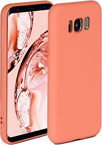 ONEFLOW Soft Hülle kompatibel mit Samsung Galaxy S8 Hülle aus Silikon, erhöhte Kante für Displayschutz, zweilagig, weiche Handyhülle - matt Koralle