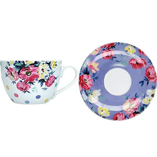 Mikasa Clovelly Juego de Taza de té y platillo con diseño Floral en Caja de Regalo, Porcelana