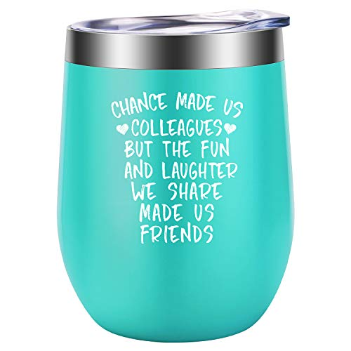 Coworker Gifts for Women - Funny Friendship, Retirement, Mothers Day, Birthday Gifts for Coworkers, Work Friends - Leaving, Going Away Gift for Coworker - LEADO Chance Made Us Colleagues Wine Tumbler