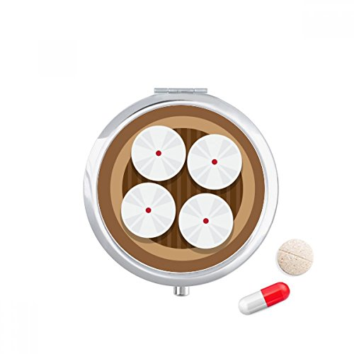 DIYthinker China Dish Gestoomde broodjes Voedsel Patroon Reizen Pocket Pill case Medicine Drug Storage Box Dispenser Spiegel Gift