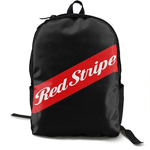 Red Stripe Label Mochila, mochila de día para escuela, trabajo y universidad, mochila deportiva y escolar, con compartimento para portátil y respaldo acolchado