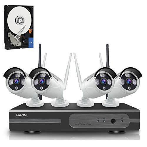 anni SmartSF 8CH 1080P Wireless Überwachungskamera HD NVR Kit WiFi Surveillance Systems,4x2.0 MP Megapixel Wetterfestes Wireless Outdoor Bullet IP Kameras,P2P,65ft Nachtsicht,mit 1TB Festplatte