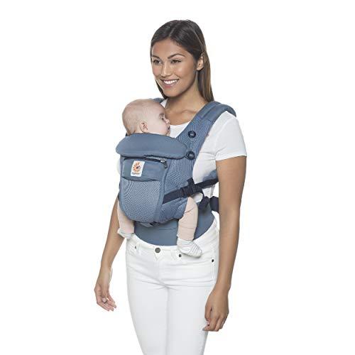 Ergobaby Adapt Babytrage für Neugeborene bis Kleinkind, Cool Air Mesh 3-Positionen Ergonomische Baby-Tragetasche Kindertrage, Oxford Blue