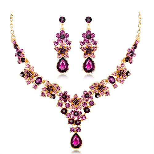 Conjunto de collar con colgante de gota para niña, novia, San Valentín, día de la madre, regalo, Gema,