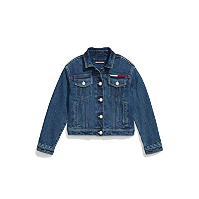 Tommy Hilfiger Girls' Adaptive Cropped Denim Jacket with Magnetic Buttons, Medium WASH, M by Tommy Hilfiger
