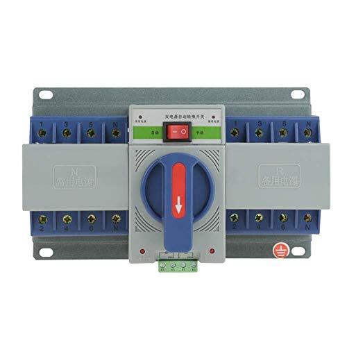 YELLAYBY Protección de circuitos Interruptor de transferencia, Mini energía dual automática del interruptor de transferencia Circuit Breaker Fácil Instalación rendimiento confiable función de protecci