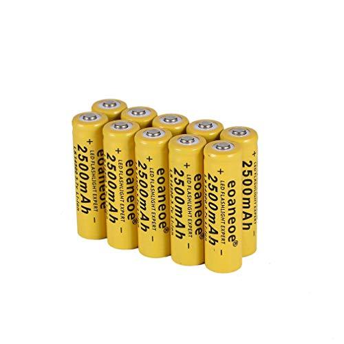Batería 14500 pilas recargables 2500 mAh 3,7 V AAA de ion de litio de gran capacidad 1000 ciclos batería de precarga de larga duración para linterna radio, herramientas electrónicas (10 unidades)