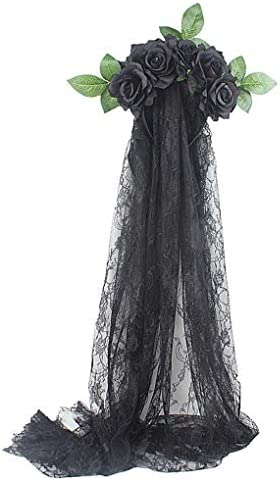 Halloween Flower Rose Hariband Black Lace Veil Day Of The Dead Garland Crown Headband Cosplay product image