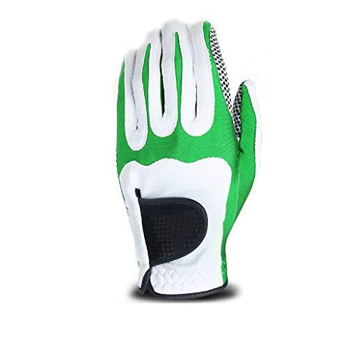 Golf Handschuh Geschirrhandtücher,Golf Herren Single Granulat rutschfest Weich Gemütlich Handschuh-Weiß+Grün-Linke Hand-L